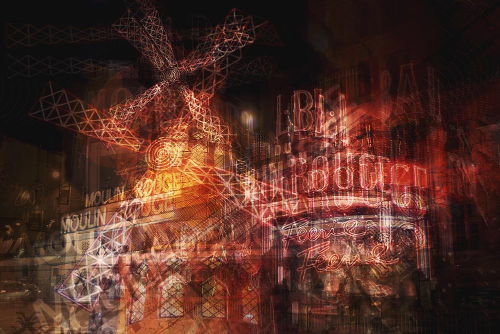 moulin rouge night paris multiple exposure photography fine art