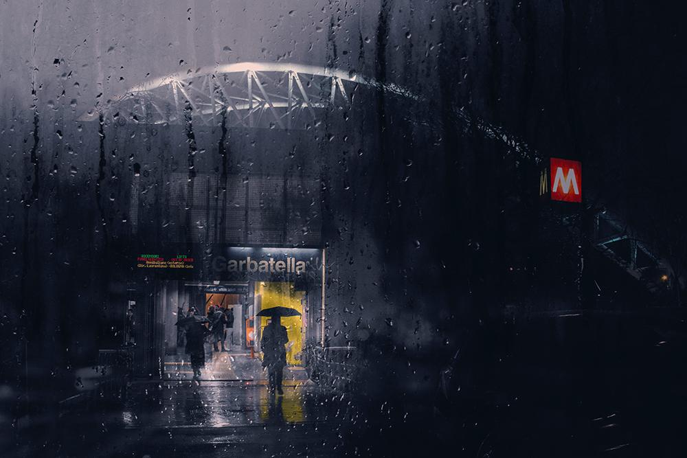 stazione metro garbatella atac roma pioggia