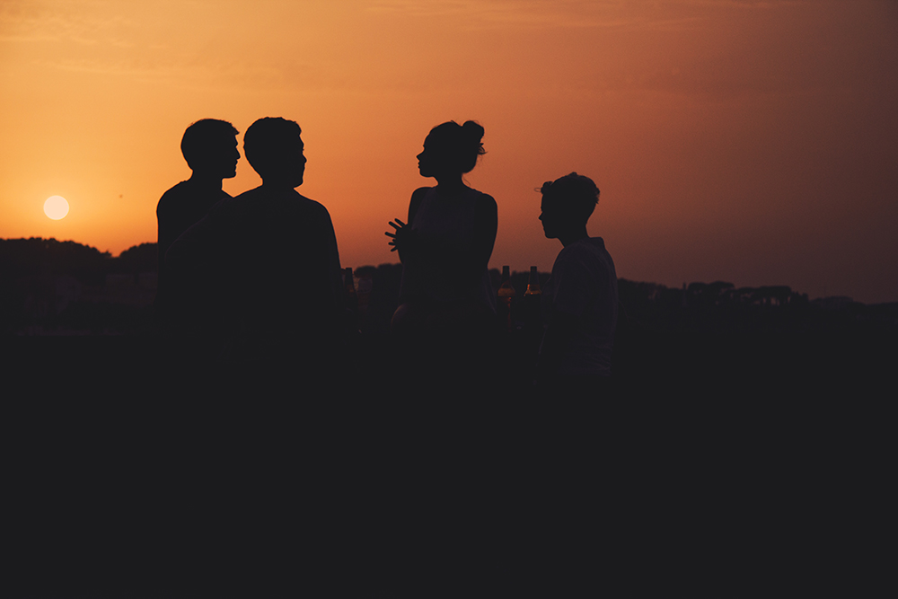 people silhouette at sunset roma fine art